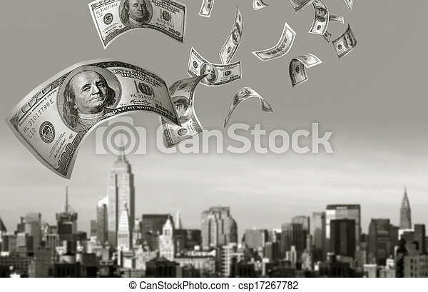 Falling Money $100 Bills - csp17267782