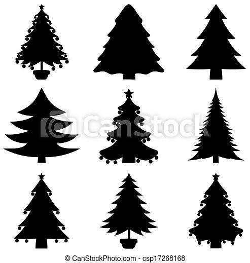 Clip Art Vecteur de série, décoratif, sapin, ombre csp17268168 ...