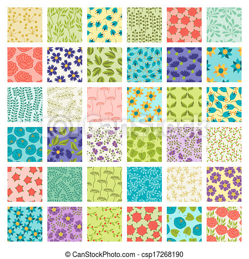 vecteurs eps de ensemble de 36 seamless floral motifs csp17268190 recherchez des images. Black Bedroom Furniture Sets. Home Design Ideas