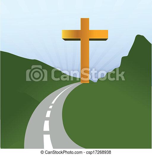 road to religion concept illustration design - csp17268938