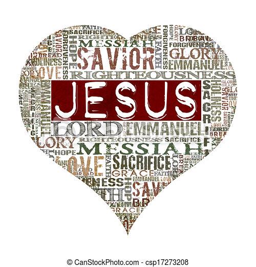 Stock Illustration of I love Jesus - Religious Words isolated on white csp17273208 ...