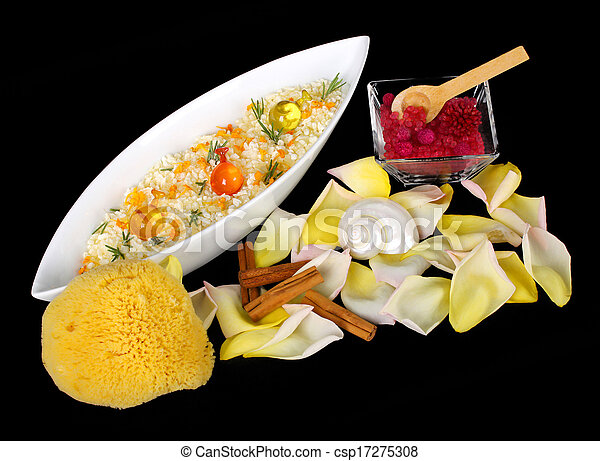 Salt bath with soap and flowers - csp17275308