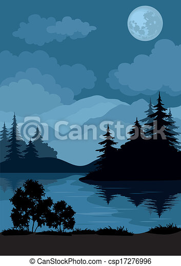 Landscape, trees, moon and mountains - csp17276996