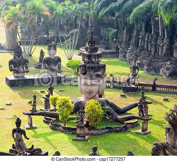 Buddha park in Vientiane, Laos. Famous travel tourist landmark - csp17277257