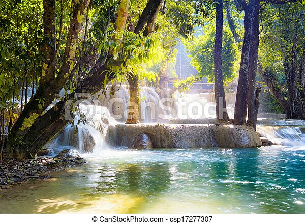 Waterfall in forest - csp17277307