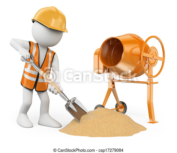 3d white people. Construction worker with a shovel and a concrete mixer making cement . Isolated white background.  - csp17279084