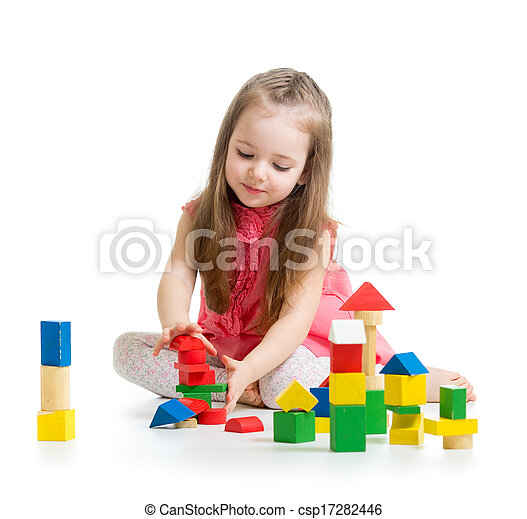 child girl playing with colorful building block toys - csp17282446