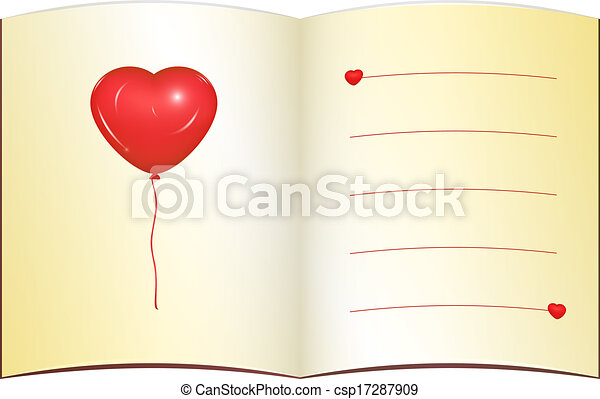 vector clipart of love greeting card with place for text  open, Greeting card