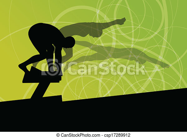 Active young swimmers diving and swimming in water sport pool silhouettes vector abstract background illustration - csp17289912