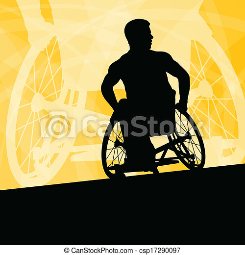 Active disabled young men on a wheelchair detailed sport concept silhouette illustration background vector - csp17290097