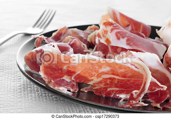spanish serrano ham served as tapas - csp17290373