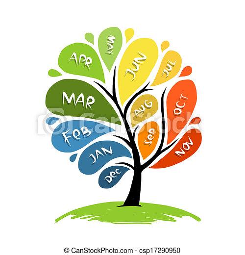 Vecteur Clipart de 12, art, pétale, mois, arbre ...
