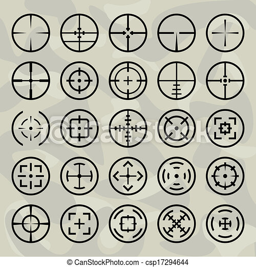 Vector isolated crosshairs set on military background - csp17294644