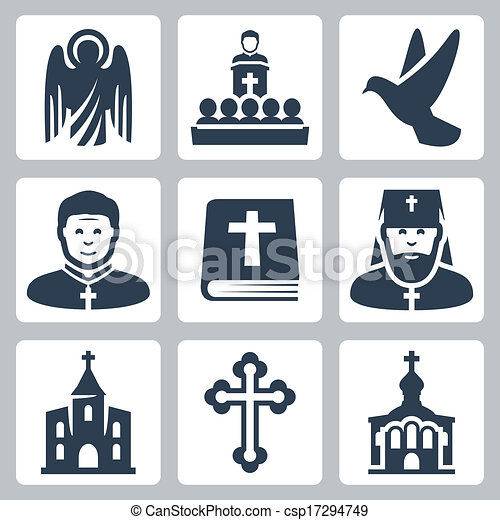 Vector Christian religion icons set - csp17294749