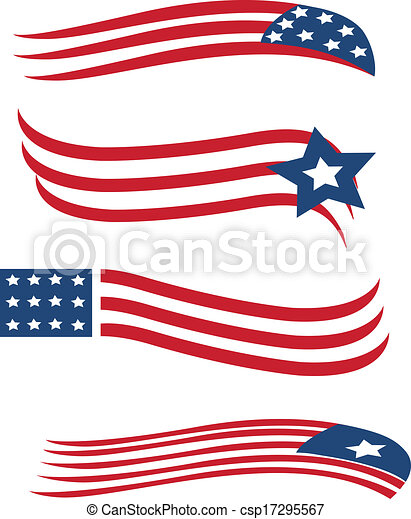 Set of American flags illustration - csp17295567