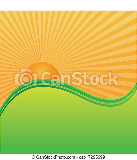 Sun and green hills mountains - csp17295699