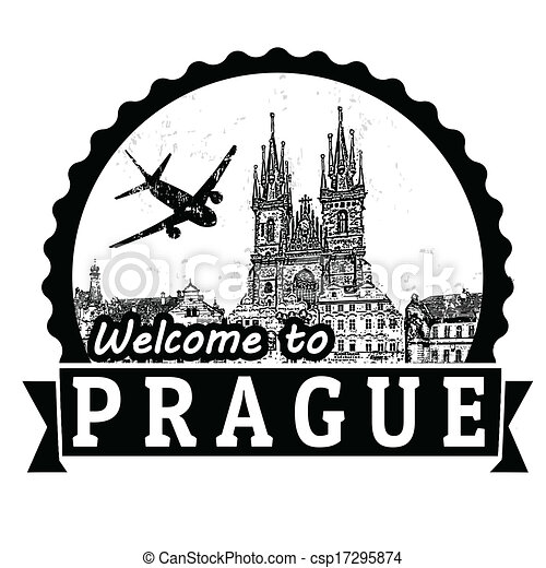 vectors illustration of welcome to prague label or stamp Travel Stickers Clip Art Passport Stamp Clip Art
