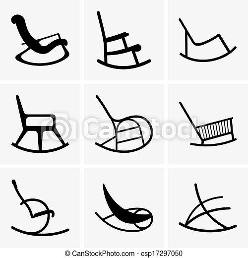 Clipart Vector of Rocking chairs - Set of nine Rocking chairs ...