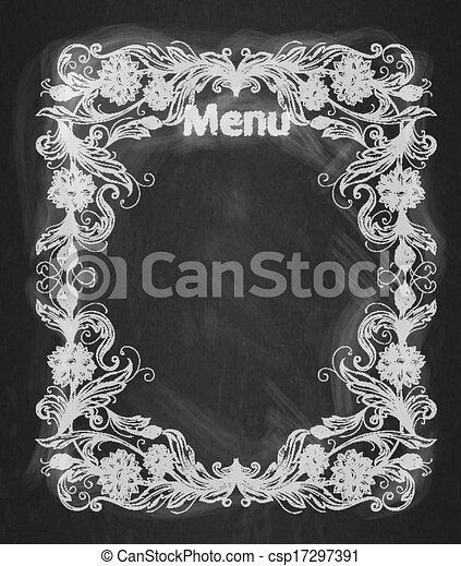Vintage frame on the chalkboard Decorative retro banner. Can be used for banner, invitation, wedding card, scrapbooking and others. Royal vector design element.  - csp17297391