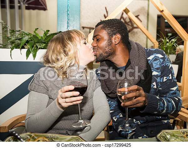 Happy Couples Black And White Kissing Happy Couple Black