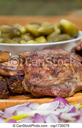 Grilled or barbecued pork meat with onion and pickles - csp1730079