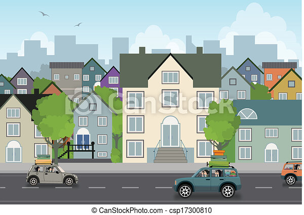 Building Scenery Drawing Scenery Town Csp17300810