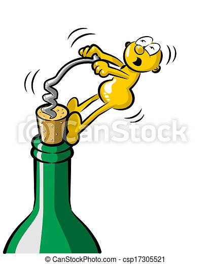 Vector - Man uncorking a bottle of wine - stock illustration, royalty ...