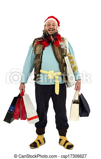 Homeless man is happy Christmas sale - csp17306627