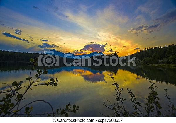 Sunset on Herbert Lake, Banff - csp17308657