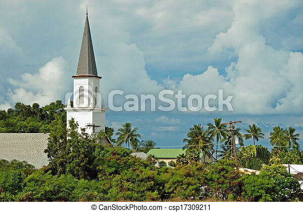 Mokuaikaua church in Kona on Big Island of Hawaii - csp17309211