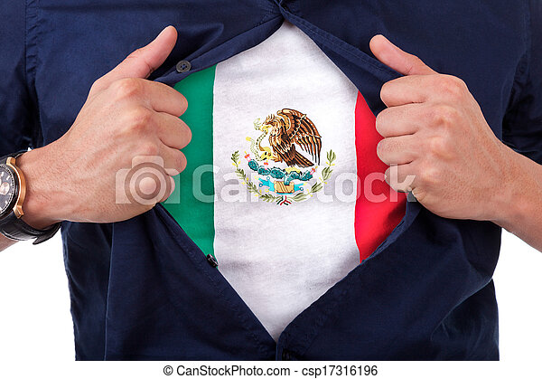 Young sport fan opening his shirt and showing the flag his country Mexico, Mexican flag - csp17316196