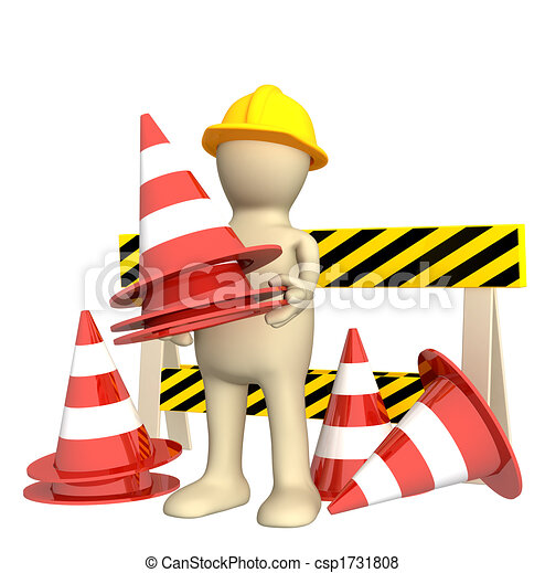 3d puppet with emergency cones - csp1731808