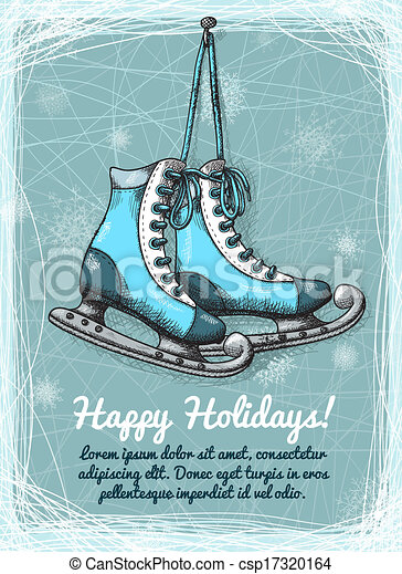 clip art vektor von schlittschuh  feiertage  winter ice skating clipart images black and white ice skating clipart border