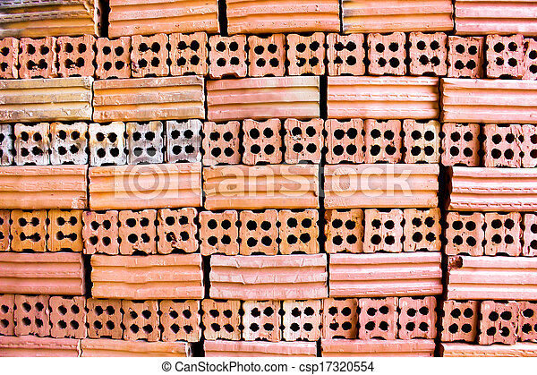 brick kiln. collection set of red bricks stack in oven factory before logistic transportation - csp17320554