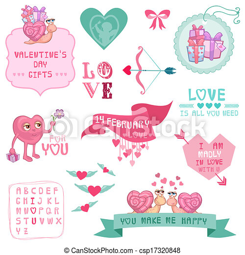 Cute Valentine's Day and Love Set - for Valentine's day, scrapbooking  in vector - csp17320848