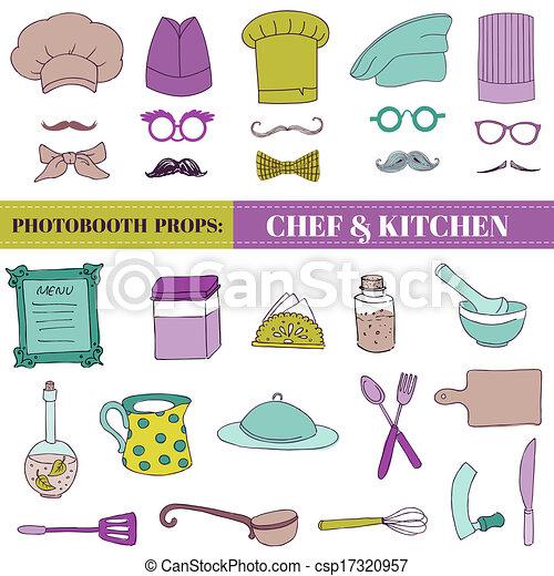 Clipart vectorial de chef cocina photobooth conjunto for Elementos de cocina para chef