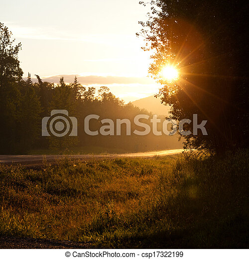 Rural country road sunrise or sunset - csp17322199