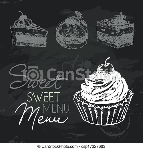 Vector Of Sweet Cakes Hand Drawn Chalkboard Design Set Black Chalk Csp17327683 Search Clip