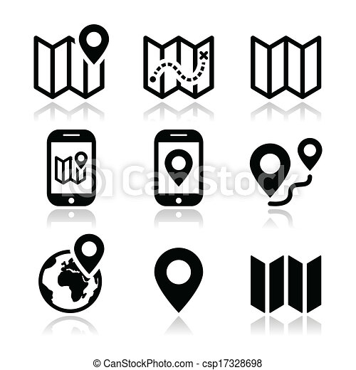 EPS Vectors of Map travel icons set - Map and navigation vector ...