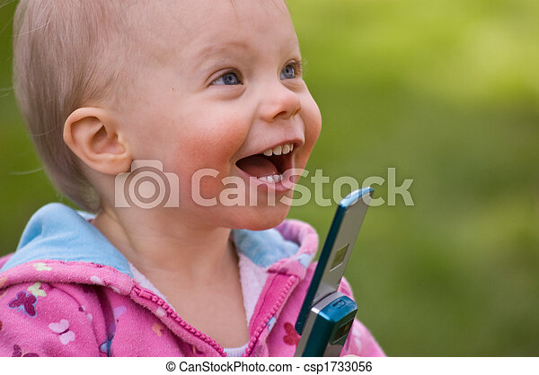 Toddler on Newer Technology Cell Phone - csp1733056