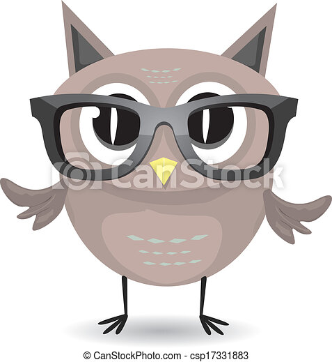 vector cartoon little owl bird isolated on white - csp17331883