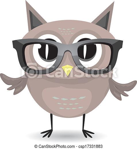 vector cartoon little owl bird isolated on white - csp17331883