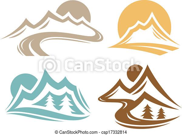 Mountain Range Symbols - csp17332814