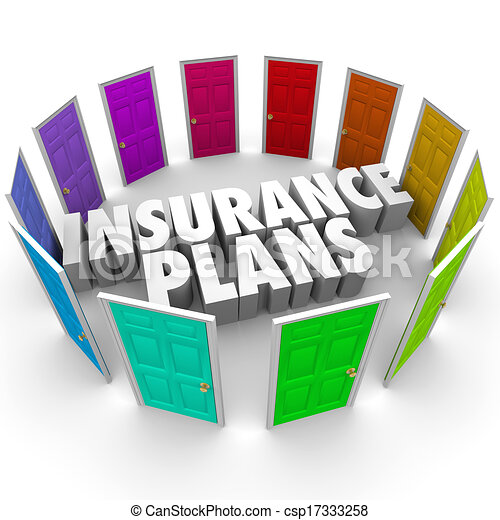 Insurance Plans Many Options Health Care Choices Doors - csp17333258