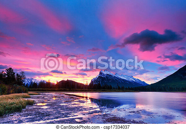 Sunset above Vermilion Lakes, Banff National Park - csp17334037