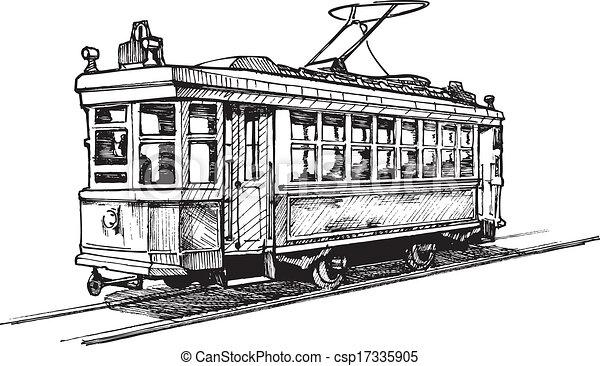 Clipart vecteur de tramway vecteur dessin de tram stylis comme gravure csp17335905 - Dessin tramway ...