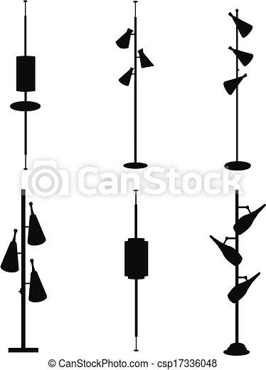vector vintage pole lamps
