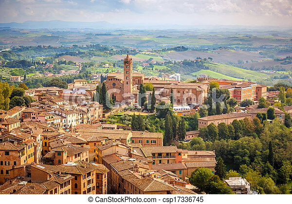 Aerial view over city of Siena - csp17336745