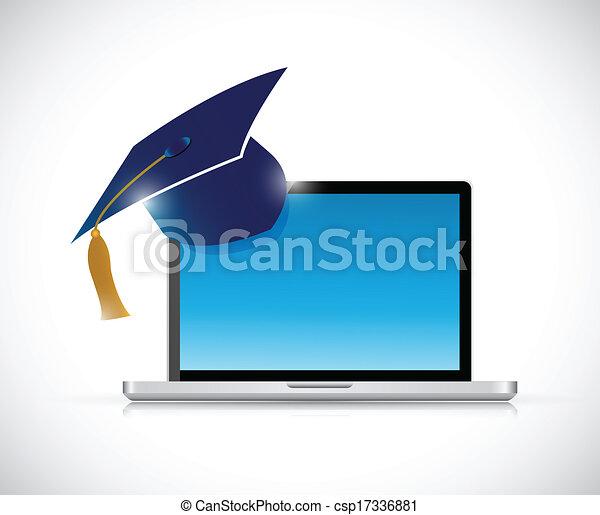 online education graduation concept illustration - csp17336881