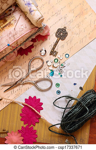 Art background  with scrapbooking elements - csp17337671